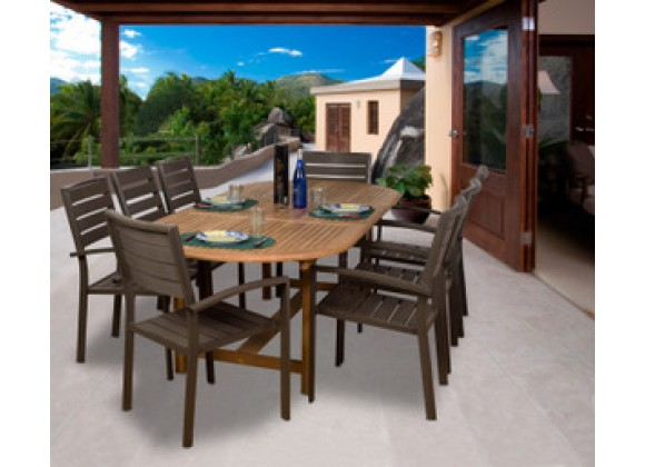 International Home Miami Amazonia Teak Ancara 9-pc Teak/Faux Wood Dining Set