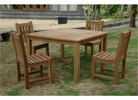 """Anderson Teak Windsor 47"""" Square Table and Classic Dining Side Chair"""