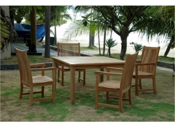 """Anderson Teak Windsor 47"""" Square Table and Chicago Armchair"""