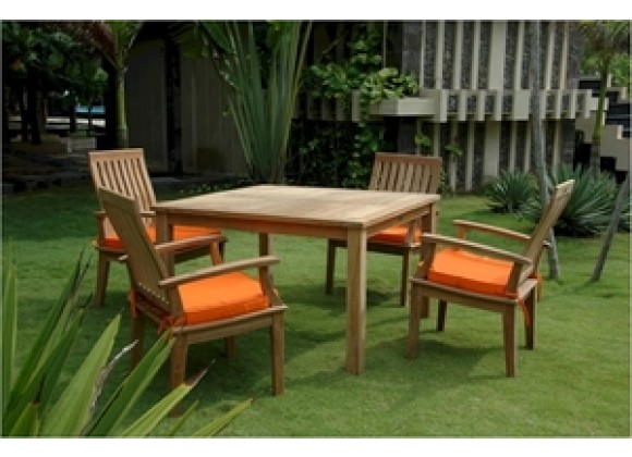 "Anderson Teak Windsor 47"" Square Table and Brianna Dining Armchair"