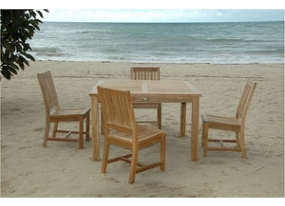 "Anderson Teak 5 Piece Windsor 47"" Square Table and Rialto Dining Chair Set"
