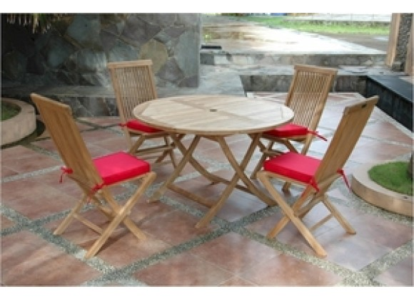"Anderson Teak Bahama 47"" Round Folding Table and Classic Folding Chair"