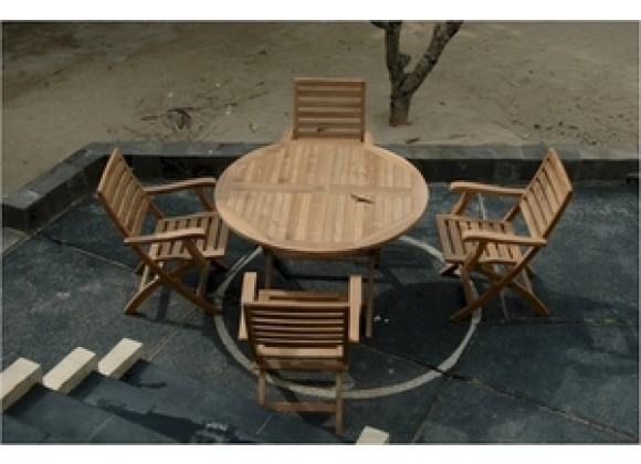 """Anderson Teak Bahama 47"""" Round Folding Table and Andrew Folding Armchair"""