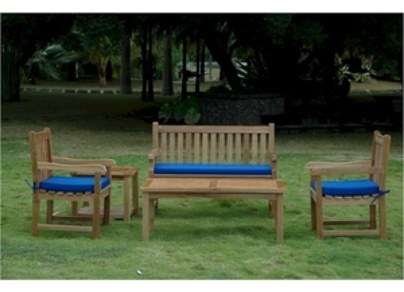 Anderson Teak Classic 2-Seater Bench with Dining Armchair, Rect. Coffee Table and Side Table