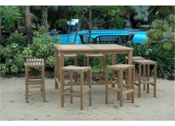 """Anderson Teak Windsor 59"""" Square Bar Table and New Montego Bar Chair"""