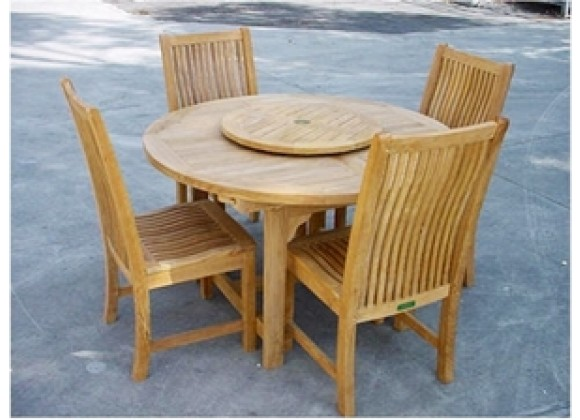"Anderson Teak Bahama 67"" Oval Extension Table and 4 Chicago Dining Chairs"