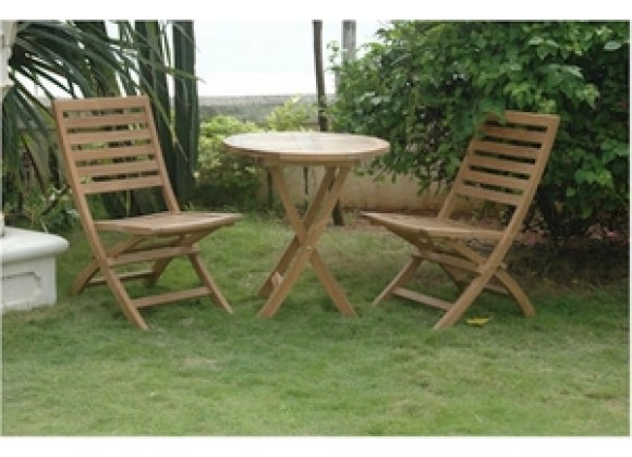 "Anderson Teak Bahama 27"" Bistro Round Folding Table and 2 Andrew Folding Chair"