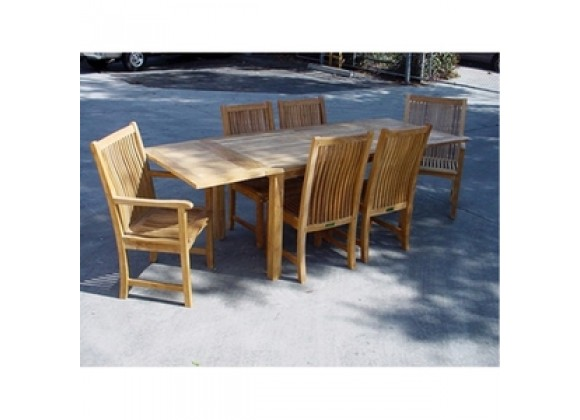 "Anderson Teak 95"" Rectangular Extension Table with Chicago Armchair and Chicago Chair"