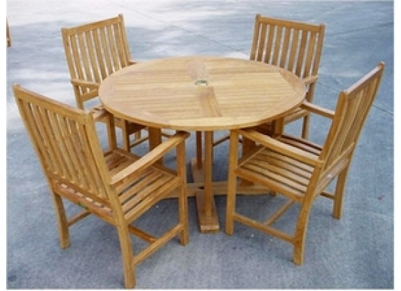 """Anderson Teak Tosca 47"""" Round Table and 4 Wilshire Dining Armchairs"""
