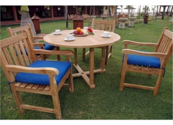 """Anderson Teak Tosca 47"""" Round Table and 4 Classic Dining Armchair"""