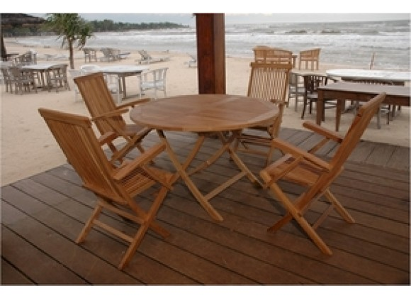 "Anderson Teak Bahama 47"" Round Folding Table and Classic Folding Armchair"