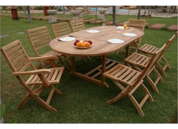 "Anderson Teak Bahama 87"" Oval Extension Table with Andrew Folding Armchair and Folding Chair"