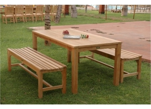 Anderson Teak Bahama Rectangular Dining Table and Hampton Backless Bench
