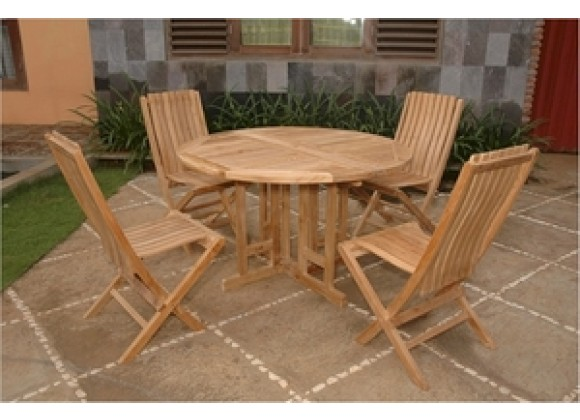 """Anderson Teak 47"""" Round Butterfly Folding Table and Comfort Folding Chair"""