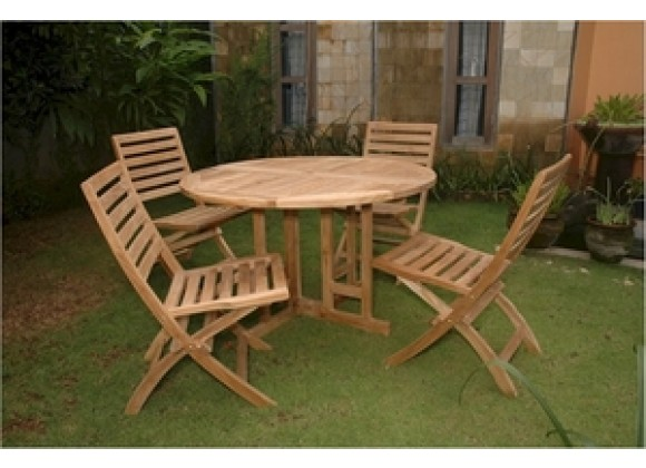 "Anderson Teak 47"" Round Butterfly Folding Table and Andrew Folding Chair"