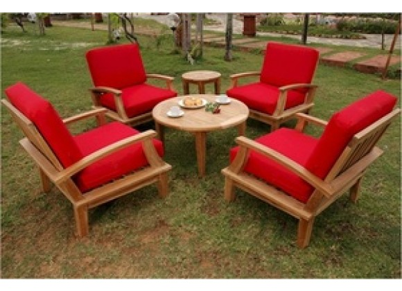 """Anderson Teak Brianna Deep Seating Armchair with 35"""" Round Coffee Table and 20"""" Round Side Table"""