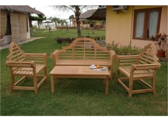 Anderson Teak Marlborough Bench with 2 Marlborough Armchair and Rectangular Coffee Table