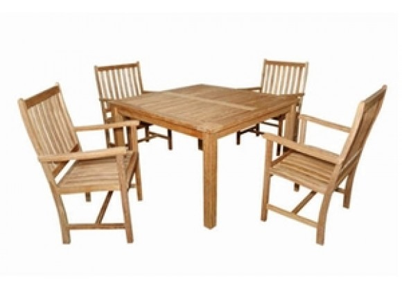 "Anderson Teak Windsor 47"" Square Table and 4 Wilshire Dining Armchair"