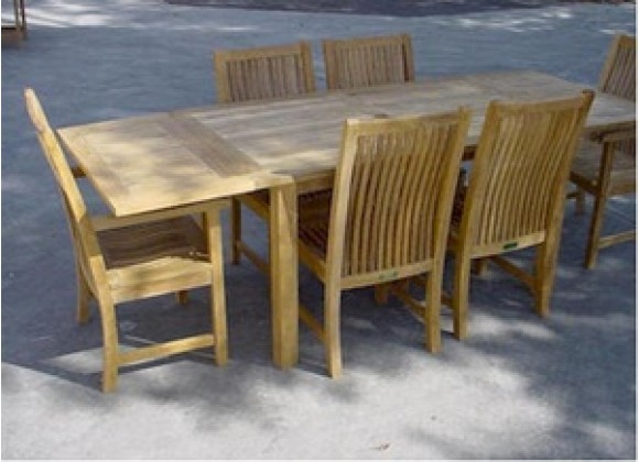 "Anderson Teak Bahama 95"" Rectangular Table w/ Double Leaf Extensions"