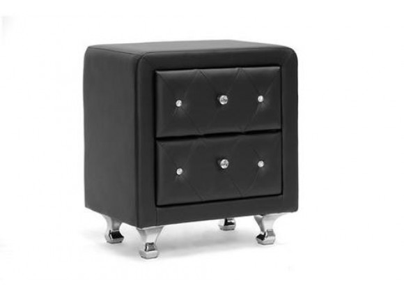 Baxton Studio Stella Crystal Tufted Upholstered Modern Nightstand