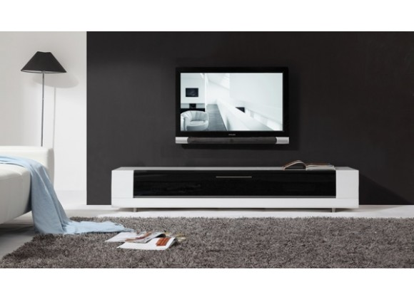 B-Modern Editor Remix TV Stand Black Glass - Front