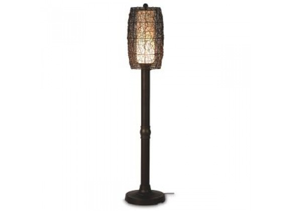 "Patio Concepts Bristol 58""/70"" Floor Lamp with 2""/3"" in Random Weave Walnut Wicker Barrel Shade"