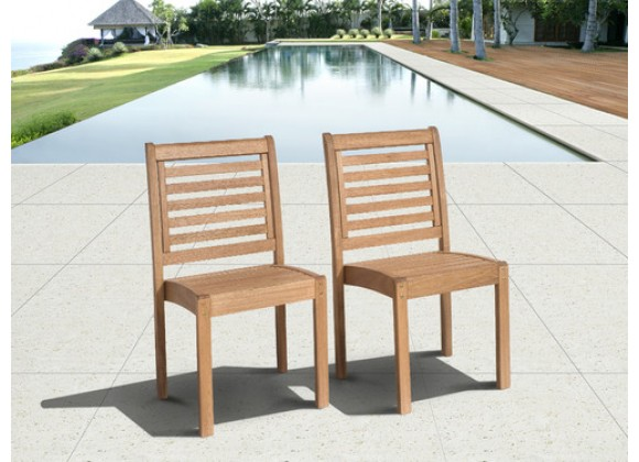 International Home Miami Amazonia Eucalyptus Stackable Patio Chair Set without Arms