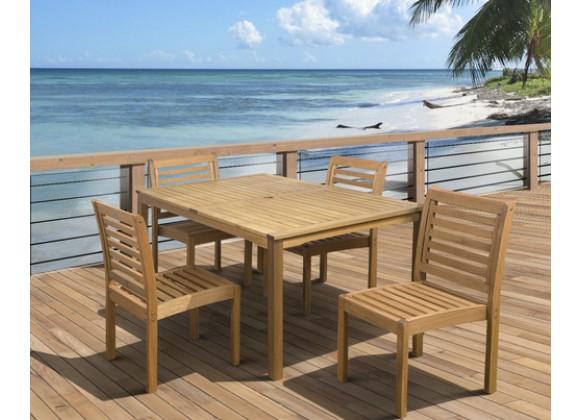 International Home Miami Amazonia Eucalyptus 5 piece Armless Rectngular Patio Dining Set