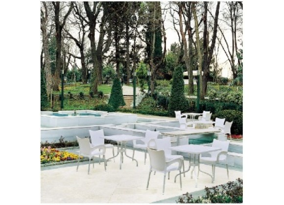 Compamia Romeo Resin Dining Arm Chair White - Set of 4