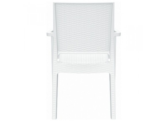 Ibiza Resin Wickerlook Dining Arm Chair White