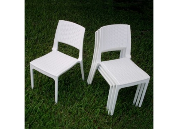 Compamia Verona Resin Wickerlook Dining Chair White - Set of 2