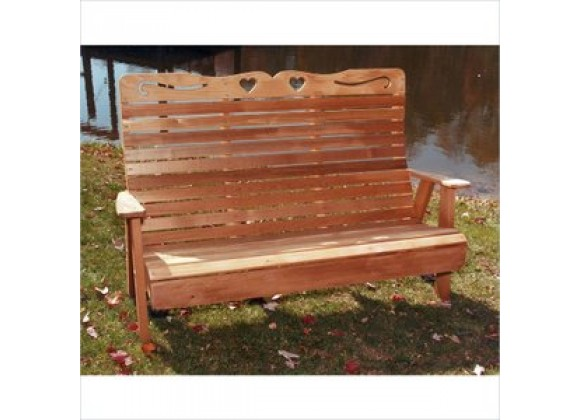 Creekvine Designs 4-Ft Cedar Country Hearts Garden Bench