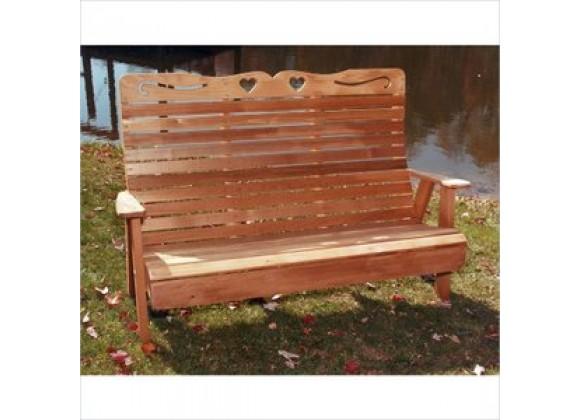 Creekvine Designs 6-Ft Cedar Country Hearts Garden Bench