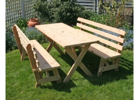 "Creekvine Designs Cedar 27"" Wide 5' Cross Legged Picnic Table with (2) 5' Backed Benches"