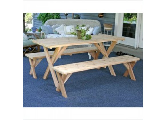 Creekvine Designs Red Cedar 27-Inch Wide 5-Ft Backyard Bash Cross Legged Picnic Table with Detached Benches