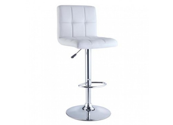 Powell Quilted Faux Leather & Chrome Adjustable Height Bar Stool