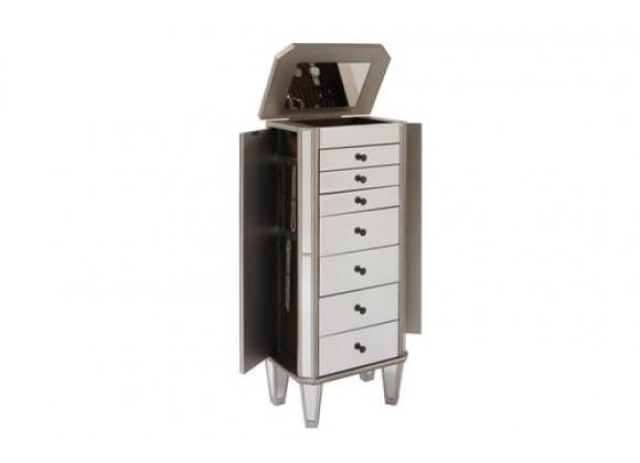 """Powell Mirrored Jewelry Armoire with """"Silver"""" Wood"""