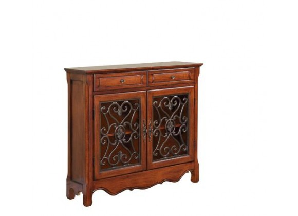 Powell Light Cherry 2-Door & 2-Drawer Scroll Console
