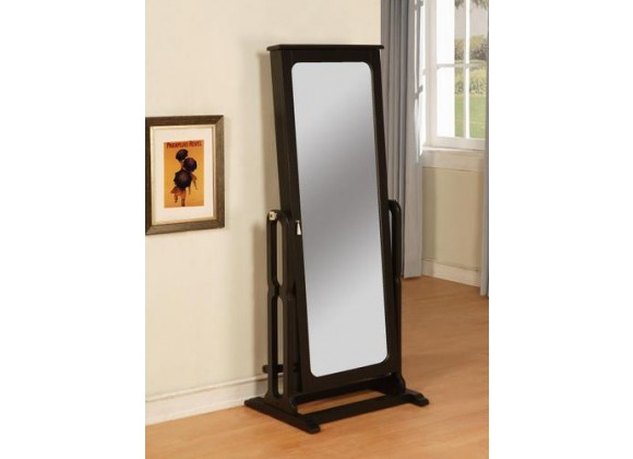 Powell Antique Black Cheval Mirror Jewelry Wardrobe