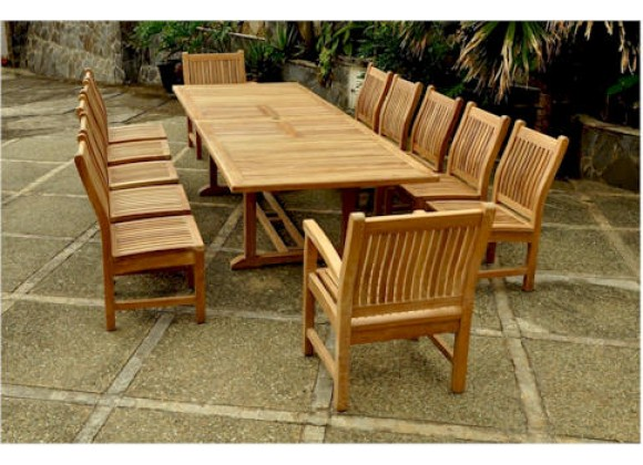 "Anderson Teak Valencia 117"" Double Ext. Table with 2 pcs Sahara dining Armchair and 10 pcs dining Chair"