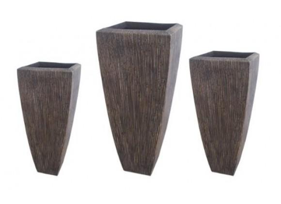 Screen Gems Sandstone Ribbed Long Square Planter - Set of 3
