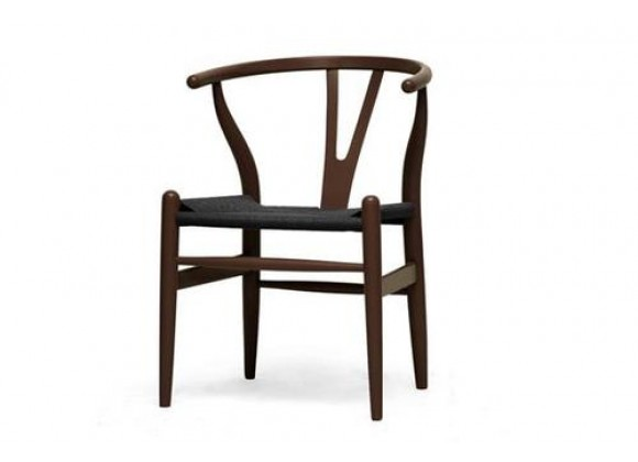 Baxton Studio Wishbone Chair - Brown Wood Y Chair w/ Black Seat