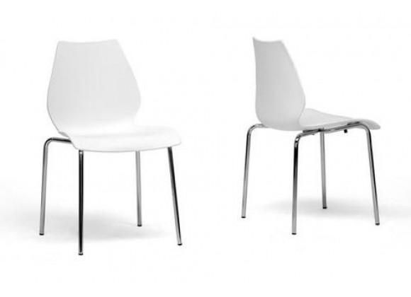 Baxton Studio Overlea White Plastic Modern Dining Chair - Set of 2