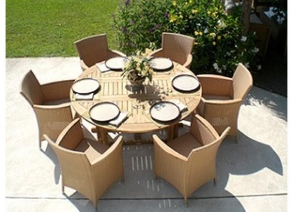 Royal Teak 5'/6' Drop Leaf Table - Round