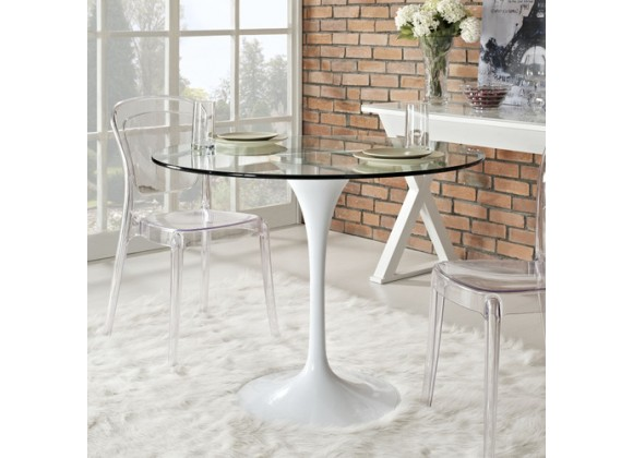 """Modway Lippa 40"""" Dining Table in Clear"""
