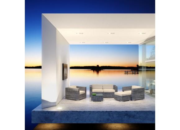 Modway Aruba 5 Piece Sofa Set in Gray Beige