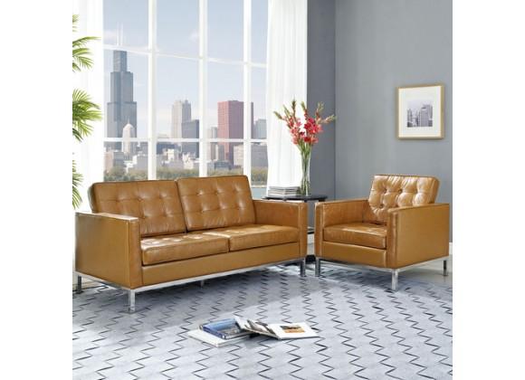Modway Loft Loveseat Leather 2 Piece Set