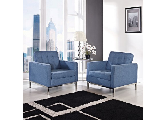 Modway Loft Armchair Set of 2 in Blue Tweed