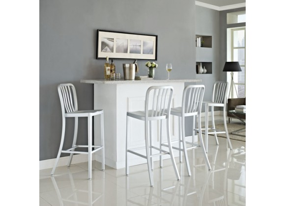 Modway Deck Bar Stool Set of 4 in Silver