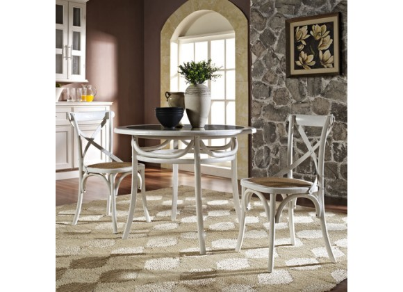Modway Gear Dining Side Chair Set of 2 in White